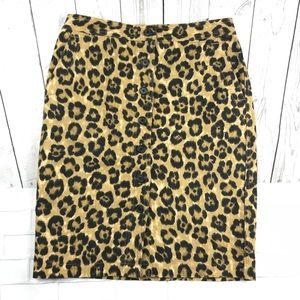 Ralph Lauren Leopard Animal Print Skirt Sz 2P